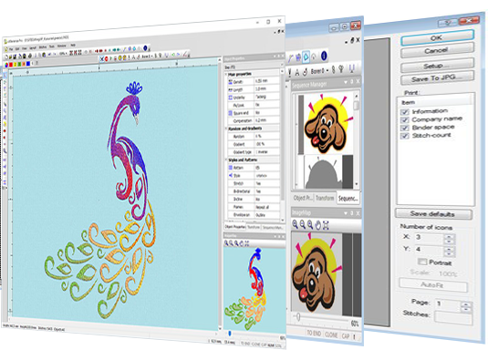 screenshot of WingsXP embroidery software